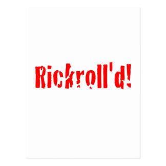 rickrolled postcard