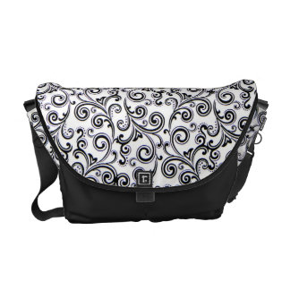 Rickshaw Messenger Bag black and white swirls