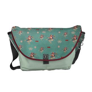 Rickshaw Messenger Bag,flowers and cherries Messenger Bag