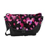 Rickshaw Messenger Bag-pink and black mosaic