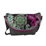 Rickshaw Messenger Bag pink and green paisley