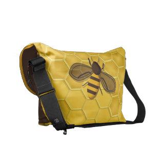Rickshaw Messenger Bag with Honeybee and Honeycomb
