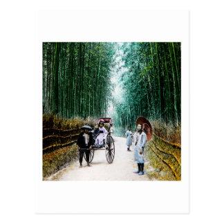 Rickshaw on the Road to Kyoto Japan Vintage Postcard