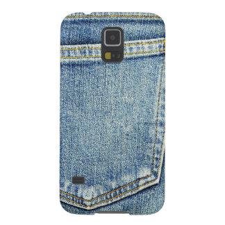 Ricos azules de la moda del estilo de la tela del carcasa galaxy s5