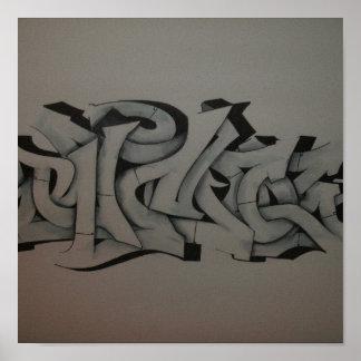 RicoUno gray scale graffiti Poster