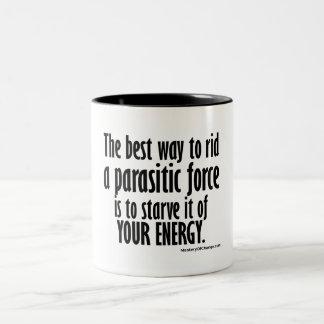 rid a parasitic force Two-Tone coffee mug