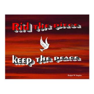 Rid the peace keep the peace,message of peace postcard