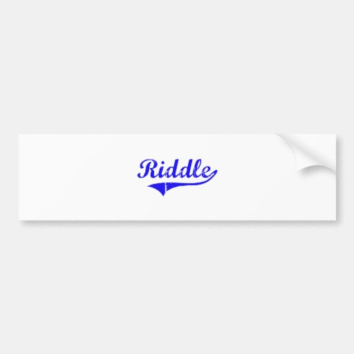Riddle Surname Classic Style Bumper Stickers