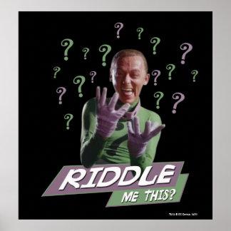 Riddler - hábleme enigmáticamente esto póster