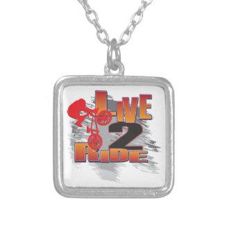 Ride 2 Live BMX Biker Square Pendant Necklace