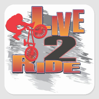 Ride 2 Live BMX Biker Square Sticker