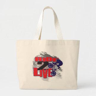 Ride 2 Live BMX Rider Large Tote Bag