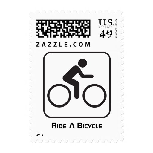 Ride A Bicycle Negative Postage Stamp