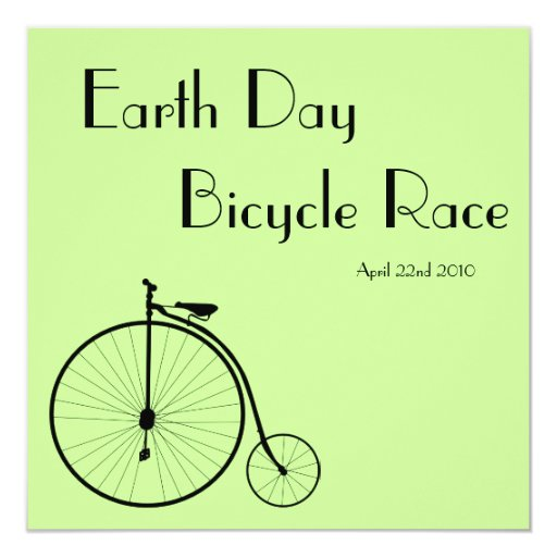 Ride A Bicycle Vintage Earth Day Race Invitation