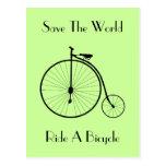 Ride A Bicycle Vintage Postcard