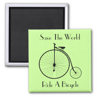Ride A Bicycle Vintage Square Fridge Magnet