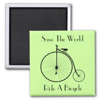Ride A Bicycle Vintage Square Fridge Magnet