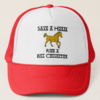 ride a bill collector trucker hat