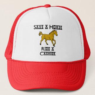 ride a cashier trucker hat