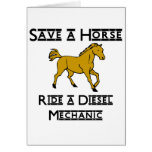 ride a diesel mechanic greeting cards