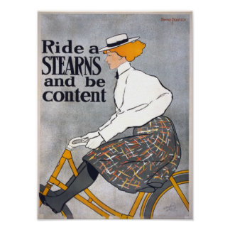 Ride a STEARNS & be content Vintage Bicycle Poster