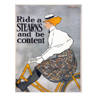 Ride a STEARNS & be content Vintage Bicycle Poster Postcard