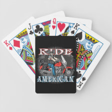 Ride American Motorcycles Biker Playing Cards