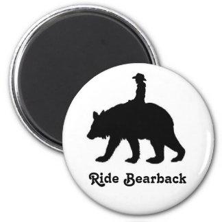 Ride bareback bear 2 inch round magnet