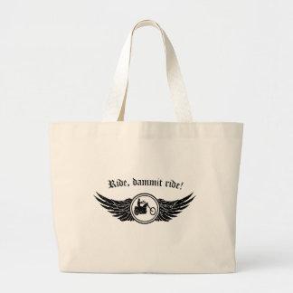 Ride dammit, ride! large tote bag
