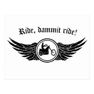 Ride dammit, ride! postcard