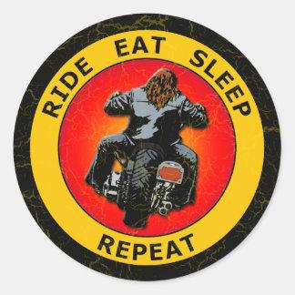 RIDE, EAT, SLEEP, REPEAT CLASSIC ROUND STICKER