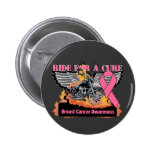 Ride For a Cure - Breast Cancer Pinback Buttons