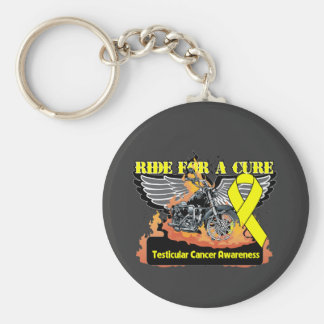 Ride For a Cure - Testicular Cancer Basic Round Button Keychain