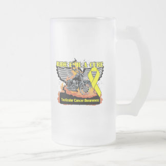 Ride For a Cure - Testicular Cancer 16 Oz Frosted Glass Beer Mug