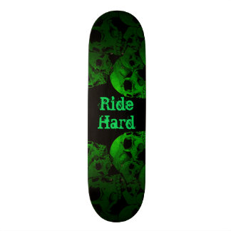 Ride Hard Green Skulls Skateboard Deck