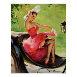 Ride in the Park Retro Pin Up Girl Poster