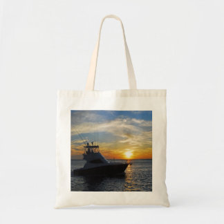Ride into the sunset budget tote bag