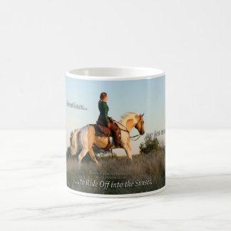 Ride Into the Sunset: Cowgirl & Palomino Paint Classic White Coffee Mug