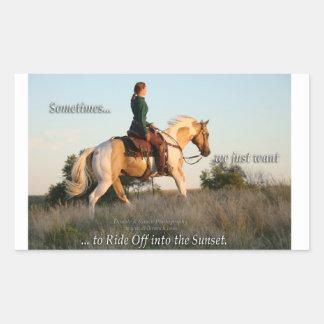 Ride Into the Sunset: Cowgirl & Palomino Paint Rectangular Sticker