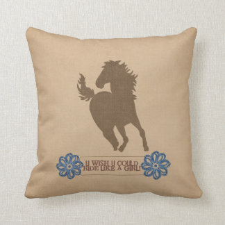 Ride Like A Girl Throw Pillow