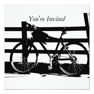 "Ride My Bike/Black &White Invites 5.25"" Square Invitation Card"