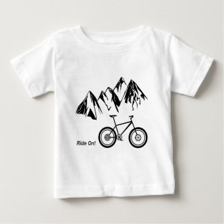 Ride On! Mountain Bike Silhouette w/ Mountains Baby T-Shirt