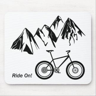 Ride On! Mountain Bike Silhouette w/ Mountains Mouse Pad