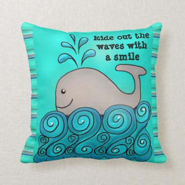 "Beach Themed ""Ride Out The Waves With A Smile"" Accent PILLOW"