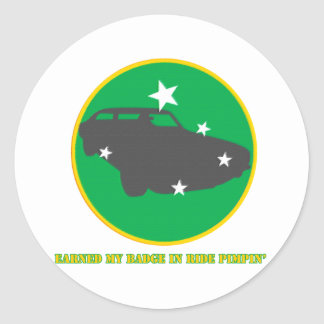 Ride Pimpin Merit Badge Classic Round Sticker