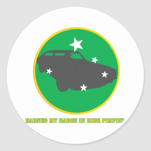 Ride Pimpin Merit Badge Classic Round Sticker
