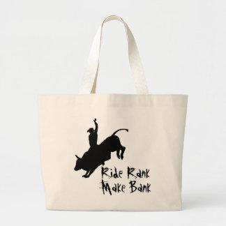 Ride Rank Bull Riding Rodeo Cowboy Up Large Tote Bag