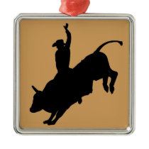 Ride Rank Bull Riding Rodeo Cowboy Up Metal Ornament