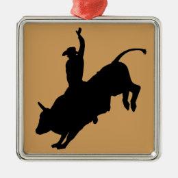 Ride Rank Bull Riding Rodeo Cowboy Up Metal Ornament