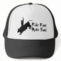 Ride Rank Bull Riding Rodeo Cowboy Up Trucker Hat